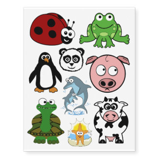 Cute Critters Assortment Temporary Tattoos