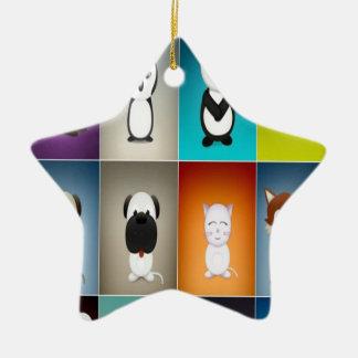 Cute critters design ceramic ornament