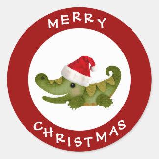 Cute Crocodile in Santa Hat Red Christmas Stickers