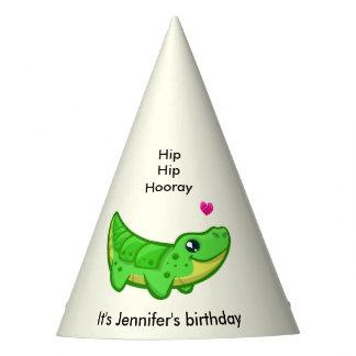 Cute crocodile love cartoon girl name birthday party hat