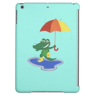 Cute crocodile under the rain iPad air cover
