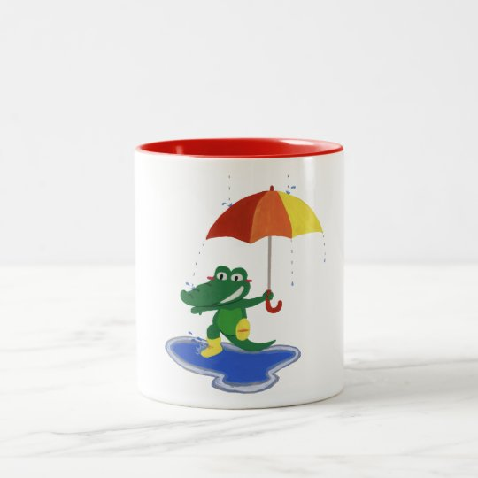 Cute crocodile under the rain Two-Tone coffee mug