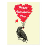 Cute crow gothic Valentines Postcard