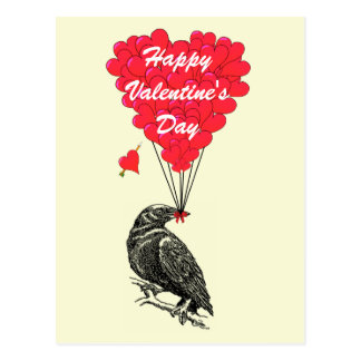 Cute crow gothic Valentines Postcard