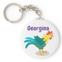 Cute crowing rooster cartoon illustration keychain