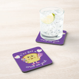 Cute Crust on You Valentine's Day Pun Beverage Coaster