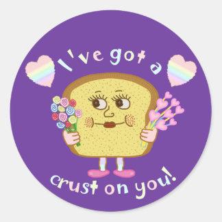 Cute Crust on You Valentine's Day Pun Classic Round Sticker