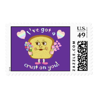 Cute Crust on You Valentine's Day Pun Postage Stamp