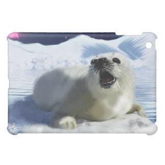Cute Crying Baby Harp Seal & Aurora iPad Case