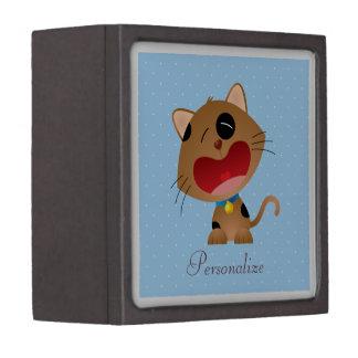 Cute Crying Cartoon Kitten Personalized Blue Premium Jewelry Box