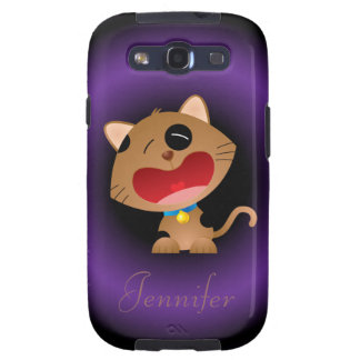Cute Crying Cartoon Kitten Personalized Galaxy SIII Cases