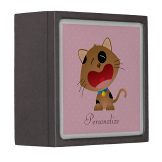 Cute Crying Cartoon Kitten Personalized Pink Premium Keepsake Boxes