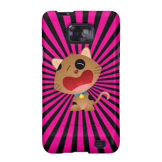 Cute Crying Cartoon Kitten Pink & Black Samsung Galaxy SII Covers