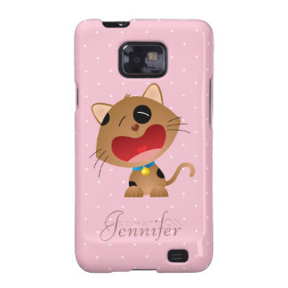 Cute Crying Cartoon Kitten Pink Personalized Samsung Galaxy S2 Cases