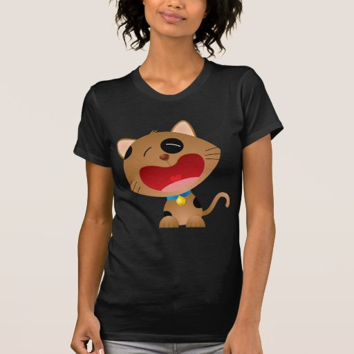 Cute Crying Cartoon Kitten T Shirt
