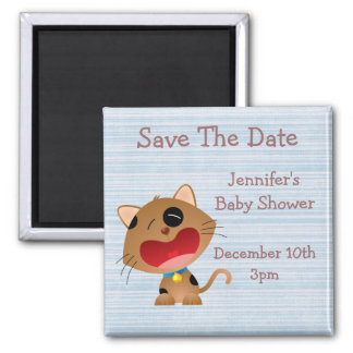 Cute Crying Kitten Save The Date Baby Shower Fridge Magnets