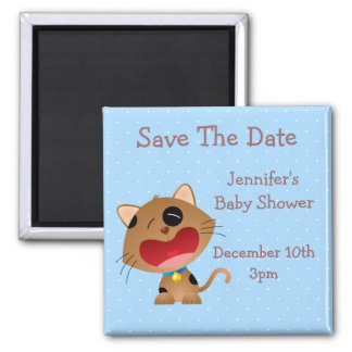 Cute Crying Kitten Save The Date Baby Shower Magnets
