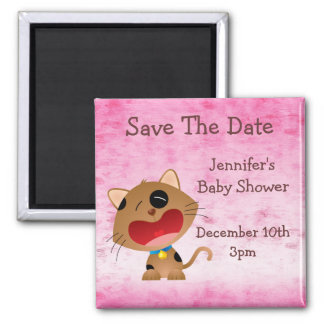 Cute Crying Kitten Save The Date Baby Shower Refrigerator Magnets