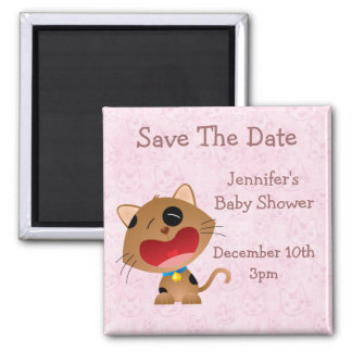 Cute Crying Kitten Save The Date Baby Shower Fridge Magnet
