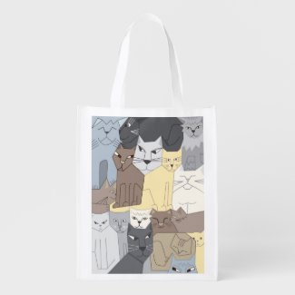 Cute Cubist Cats Reusable Grocery Bag