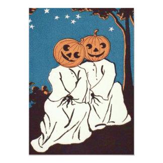 Cute Cuddle Pumpkin Jack O' Lantern Ghost Card