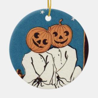 Cute Cuddle Pumpkin Jack O' Lantern Ghost Ceramic Ornament