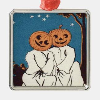 Cute Cuddle Pumpkin Jack O' Lantern Ghost Metal Ornament