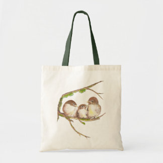 Cute Cuddling Family of Sparrows, Bird, Nature Canvas Bags