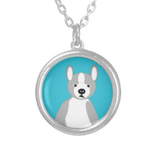 Cute cuddly and Lovable Boston Terriers Round Pendant Necklace