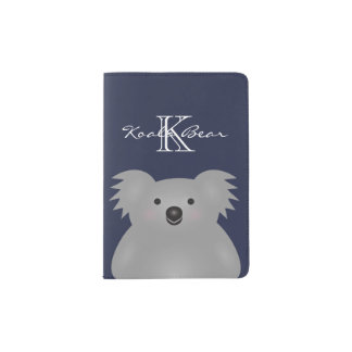 Cute Cuddly Australia Baby Koala Bear Monogram Passport Holder