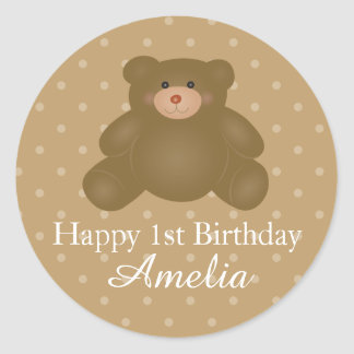 Cute Cuddly Brown Baby Teddy Bear First Birthday Classic Round Sticker