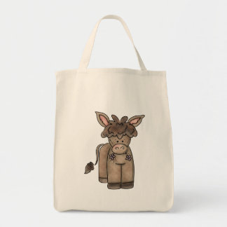 Cute Cuddly Little Burro Grocery Tote Bag