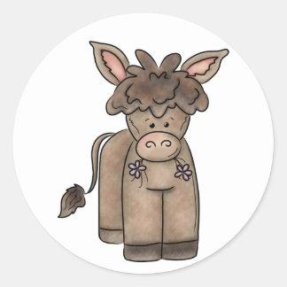 Cute Cuddly Little Burro Round Sticker