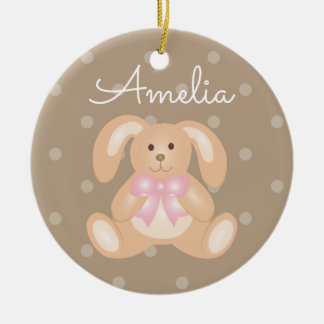 Cute Cuddly Pink Ribbon Bunny Rabbit Add Your Name Ceramic Ornament