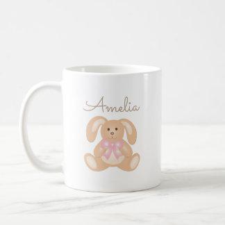 Cute Cuddly Pink Ribbon Bunny Rabbit Add Your Name Coffee Mug