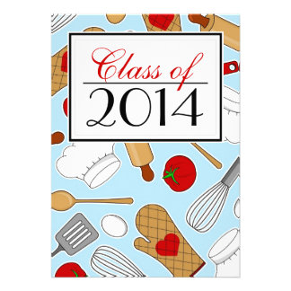 Cute Culinary School Graduation Invite Blue