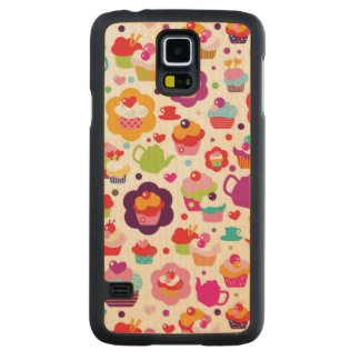 Cute cup cake and tea pot carved maple galaxy s5 slim case