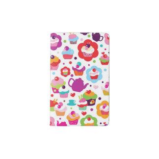 Cute cup cake and tea pot pocket moleskine notebook