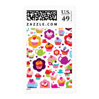 Cute cup cake and tea pot postage stamp