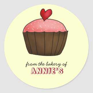 Cute Cup Cake Heart Home Bakery Favor Classic Round Sticker