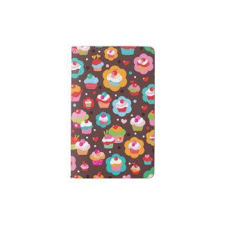 Cute Cup Cake Pattern Pocket Moleskine Notebook