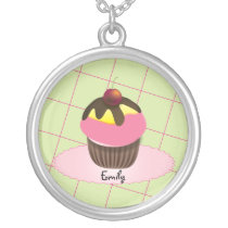Cute Cupake Red Cherry Customizable Necklace