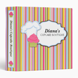 Cute Cupcake and Baker's Hat 1.5 in. Binder