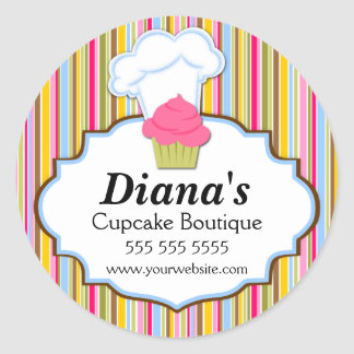 Cute Cupcake and Baker's Hat Bakery Stickers