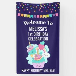 Cute Cupcake and Happy Ice Cream Birthday Banner