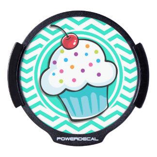 Cute Cupcake; Aqua Green Chevron LED Window Decal