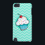 "Cute Cupcake; Aqua Green Chevron iPod Touch (5th Generation) Cover<br><div class=""desc"">Cool,  cute  blue cupcake with white icing,  colorful sprinkles,  and a red cherry on top on  aqua green; turquoise and white chevron stripes  pattern.  Great gift for kids or bakery owner!</div>"