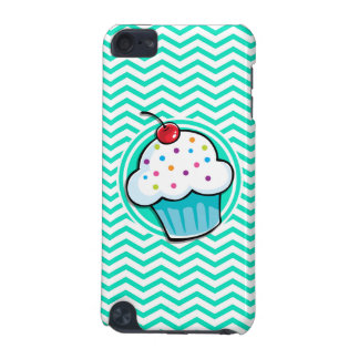Cute Cupcake; Aqua Green Chevron iPod Touch (5th Generation) Cover
