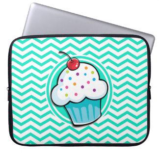 Cute Cupcake; Aqua Green Chevron Computer Sleeves