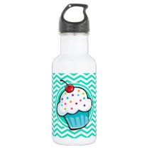 Cute Cupcake; Aqua Green Chevron Water Bottle